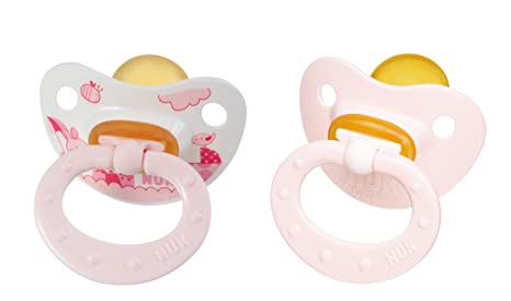 Nuk 710107 - Chupetes de látex (2 unidades, T1), color rosa
