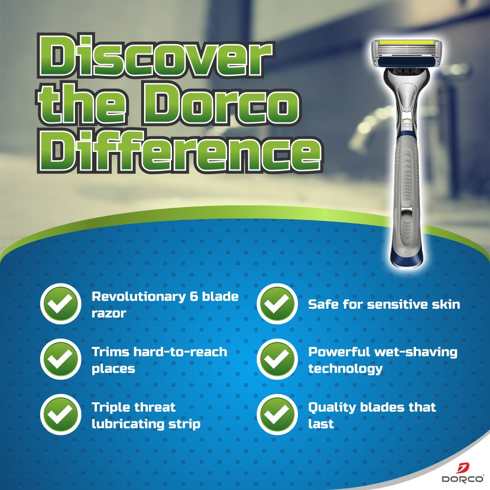 Dorco Pace 6 Plus- Six Blade Razor System with Trimmer - 10 Pack (1 Handle + 10 Cartridges) by DORCO (Image #5)