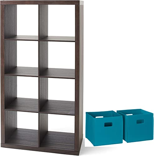 Better Homes and Gardens Home Office Furniture 8-Cube Organizer Storage Bookcase and 2 Piece Folding Storage Bin Set Bundle