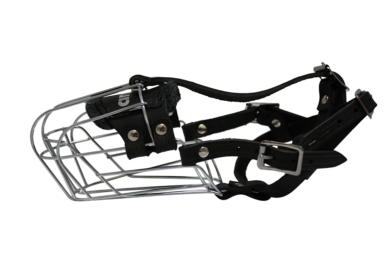 Angel Pet Supplies Inc. Wire Cage & Leather Muzzle (Miami). Size J1, Black. 8.25  circumference, 3.5  length. Best fits small dogs with longer snouts like  Dachshunds