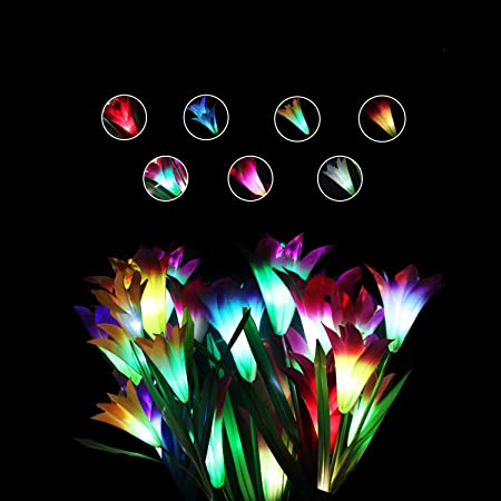 Amazon Com Beinhome 4 Pack Solar Garden Lights Outdoor Solar Powered Lights With 16 Lily Flowers Multi Color Changing Led Solar Stake Lights For Garden Patio Yard Decoration White Purple Red Yellow Home Improvement