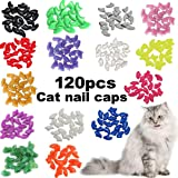 VICTHY 120pcs Cat Nail Caps, Colorful Pet Cat Soft Claws Nail Covers for Cat Claws with Adhesive and Applicatorsm Medium