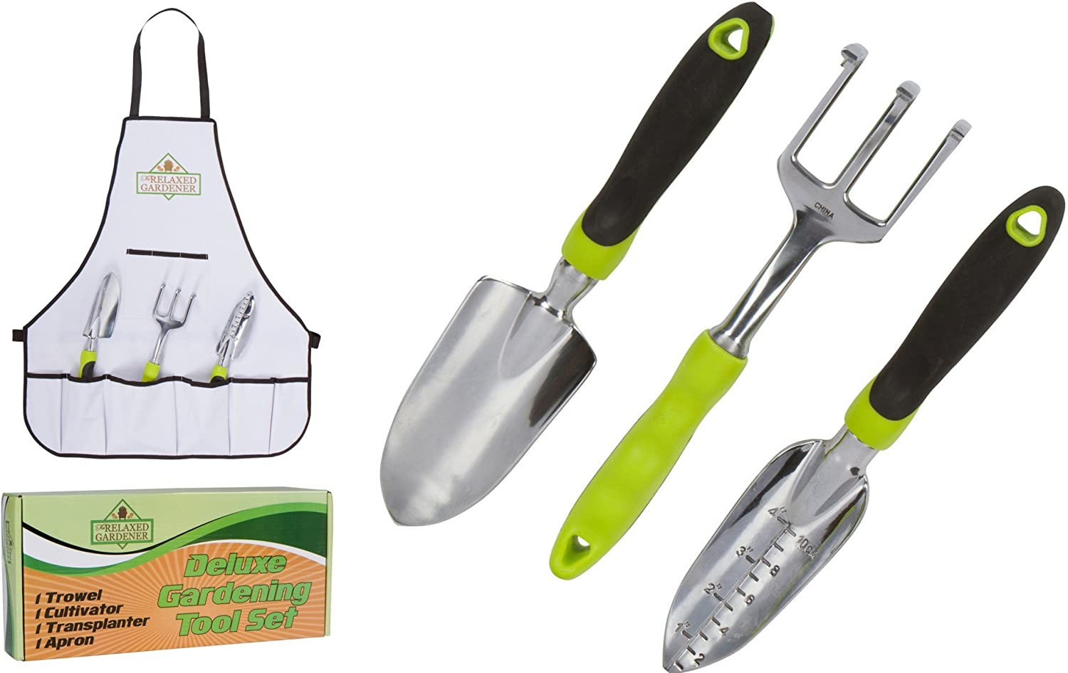 The Relaxed Gardener Garden Tool Set – 3 Heavy Duty Gardening Hand Tools – Trowel, Cultivator, and Transplanter with Bonus Apron – Rust-Proof Gardening Tools Kit Gift for Men and Women