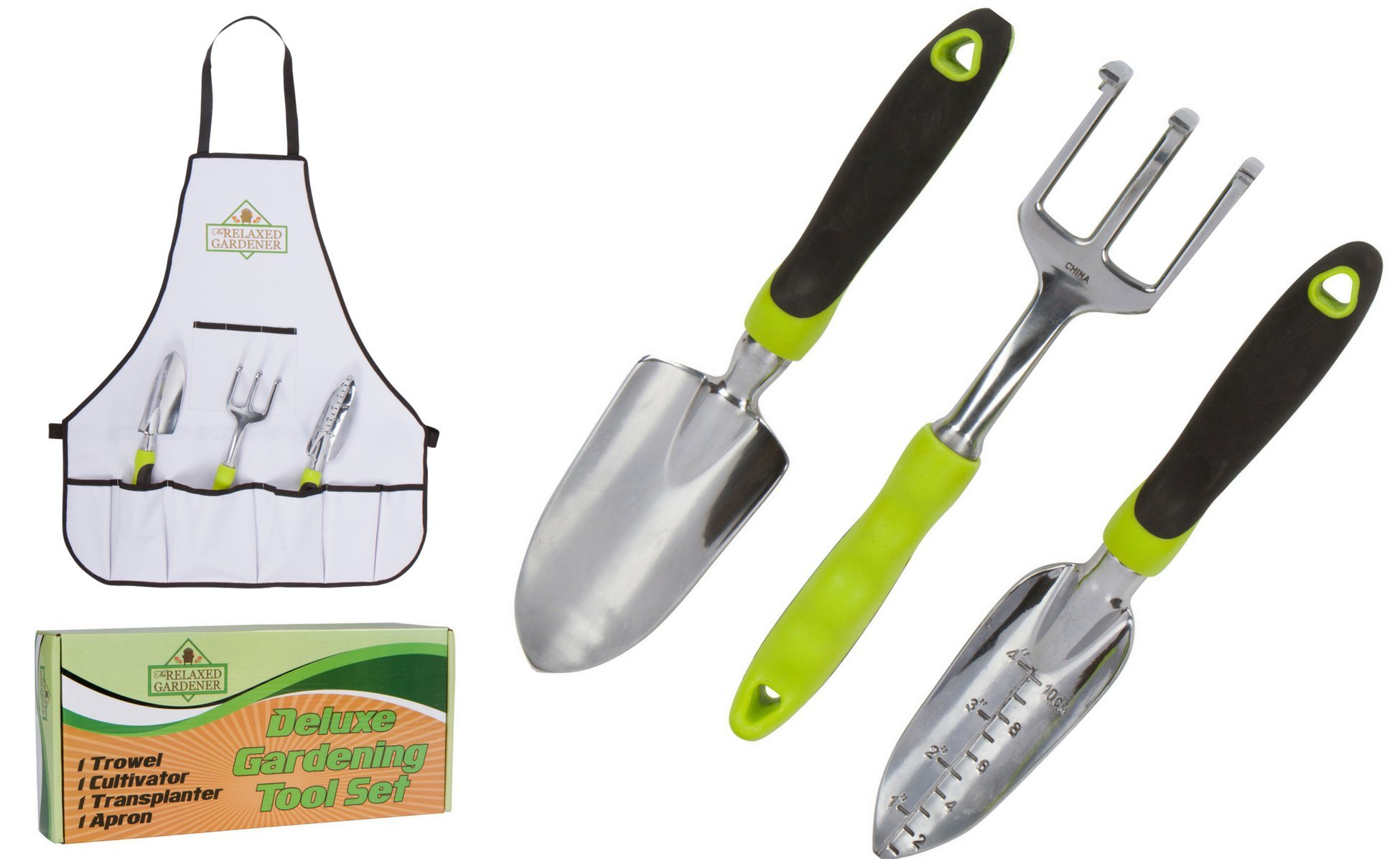 The Relaxed Gardener Garden Tool Set - 3 Heavy Duty Gardening Hand Tools - Trowel, Cultivator, and Transplanter with Bonus Apron - Rust-Proof Gardening Tools Kit Gift for Men and Women