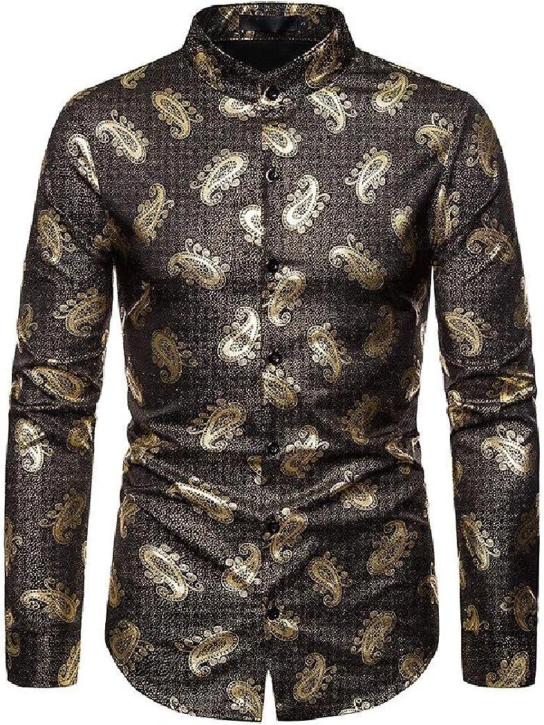 Highisa Men Stand up Collar Gilded Autumn Print Casual Western Shirt
