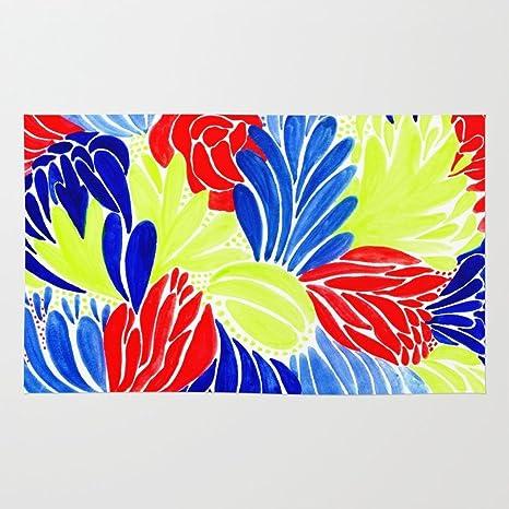 amazon com society6 colorful neon flowers rug 2 x 3 latinta