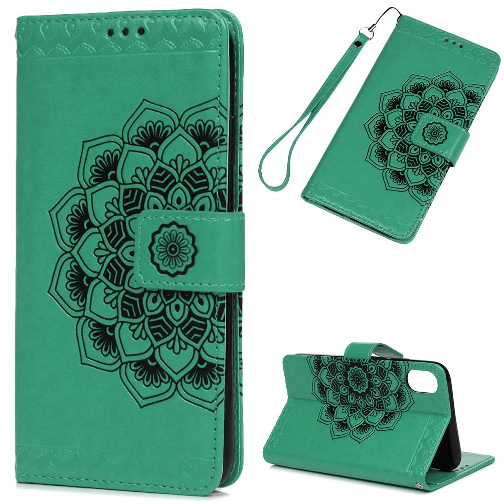 iPhone Xs max Case 6.5, 3D Relief Embossed Mandala Floral Pattern PU Leather Soft TPU Inner Card ID Holder Wrist Strap Stand Magnetic Folio Flip Wallet Cover for Apple iPhone iPhone Xs max - Blue iPhone Xs max Case 6.5 Edauto