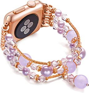 JuQBanke Compatible for Apple Watch Band 38mm 40mm, Jewelry Fashion Stretch Crystal Pearl Bracelet Replacement Womens Strap, Compatible for iWatch Series 5/4/3/2/1(Rose Pink, M/L)