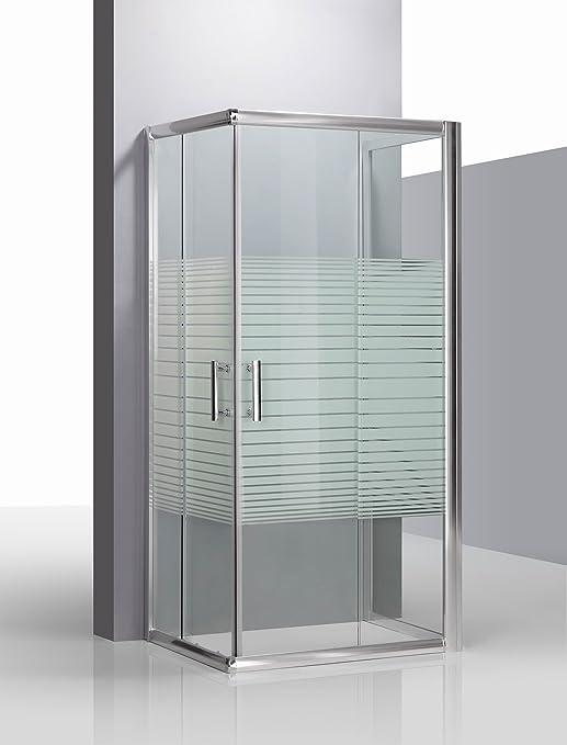 Piushopping – Cabina de ducha de tres lados, de cristal serigrafiado con perfiles de aluminio, para baño modelo Katariina 70 x 90 x 70 cm: Amazon.es: Hogar