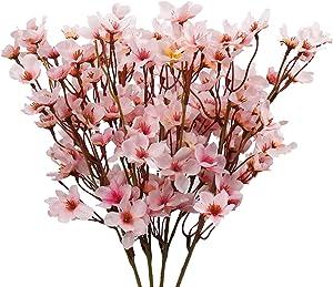 4Pcs Artificial Cherry Blossom Flower, Uieke Silk Peach Flowers Fake Plants Arrangement for DIY Garden Home Wedding Party Decor Pink