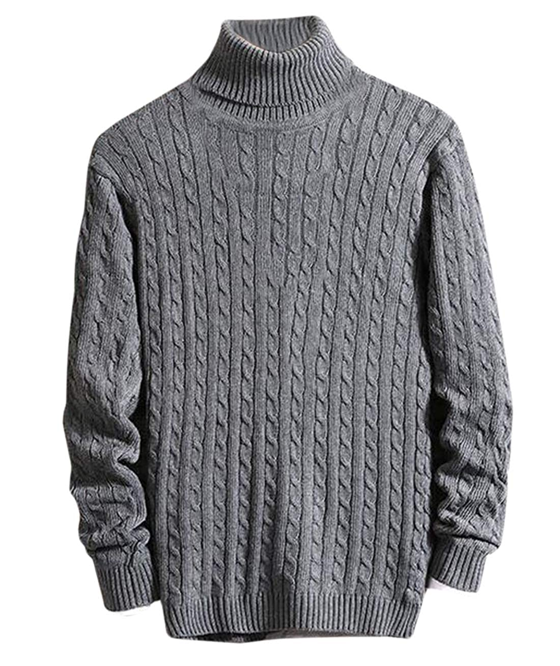 Gnao Mens Warm Long Sleeve Casual Cable Twist Turtleneck Pullover Winter Sweater