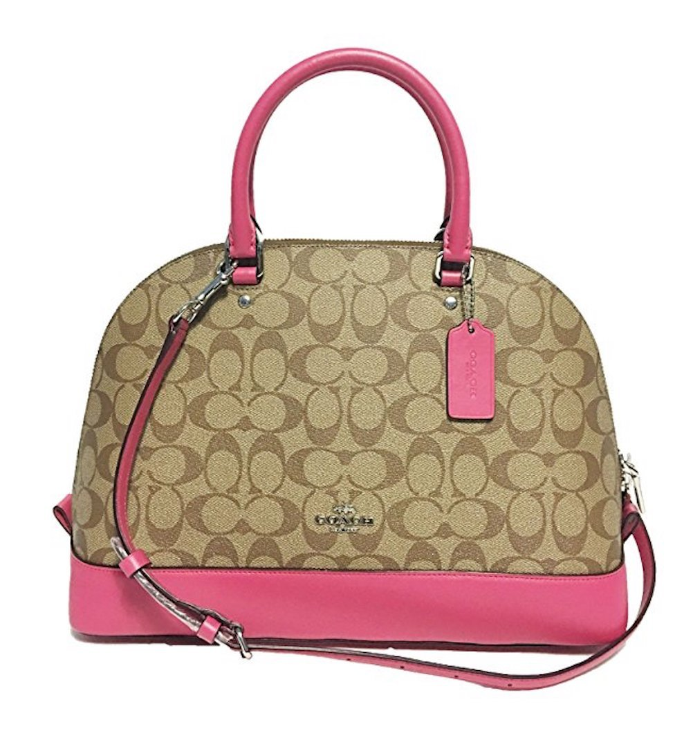 Coach Signature Sierra Satchel (SV/Khaki/Magenta) by Coach