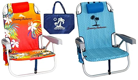 2 Tommy Bahama Backpack Beach Chairs 1 Red and 1 Blue 1 Medium Tote Bag
