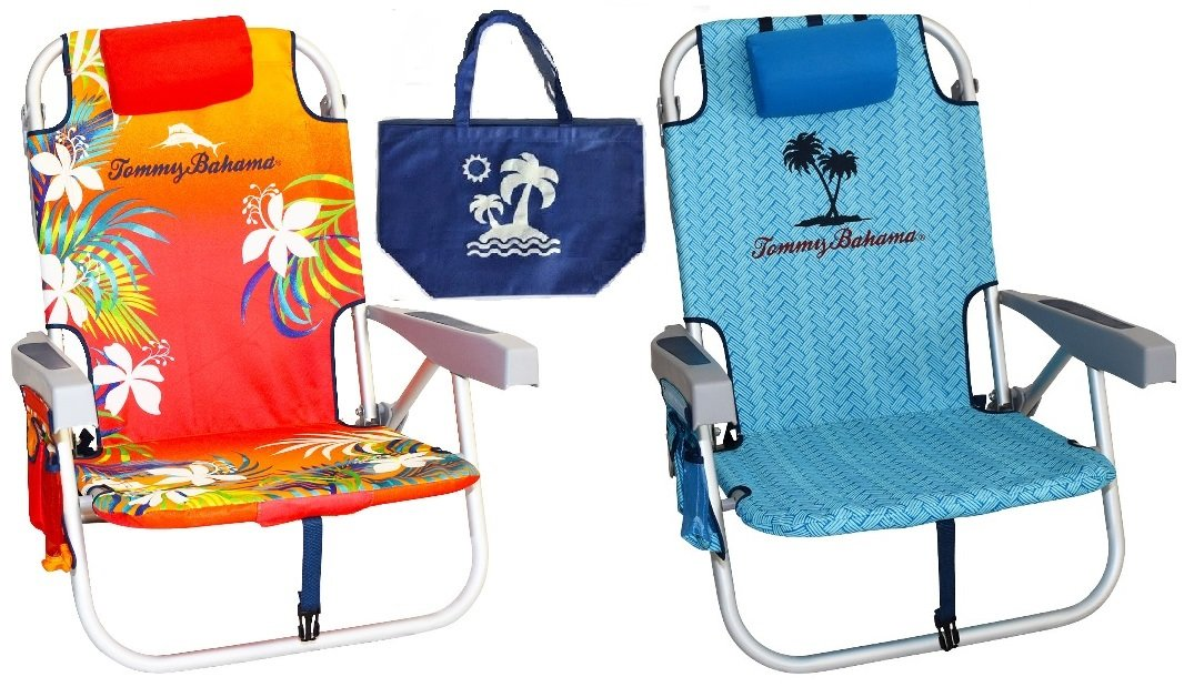 2 Tommy Bahama Backpack Beach Chairs(1 Red and 1 Blue) + 1 Medium Tote Bag