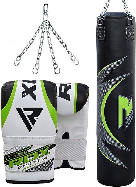 RDX 17PC Filled Heavy Punch Bag Boxing Set MMA Bracket Chain Training Black