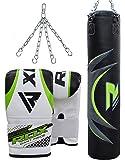 RDX MMA Sacco da Boxe 17Pc E 13Pc Boxe Impostato 4 Piedi 5 Piedi Pieni Pesante Pugno Catene Guanti Sacchetto Della Staffa Di Formazione Sacchi Da Boxe