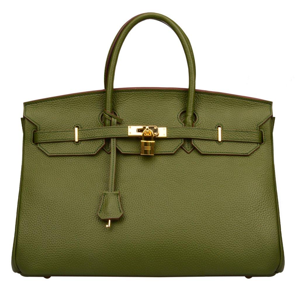 Ainifeel Women's Padlock Genuine leather 40CM Handbags (40cm(Silver hardware), Military green)