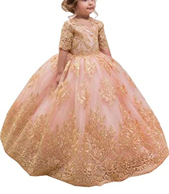 83c3197be9 MuchXi Pink Princess Long Flower Girls Pageant Dresses Kids Prom Puffy  Tulle Ball Gown 2