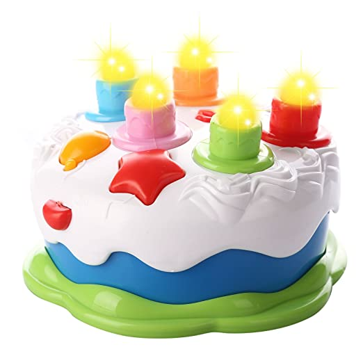 Amazon Kids Birthday Cake Toy With Candles Music Pretend Play Food Toys Games