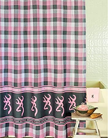 browning buckmark plaid pink u0026 gray shower curtain