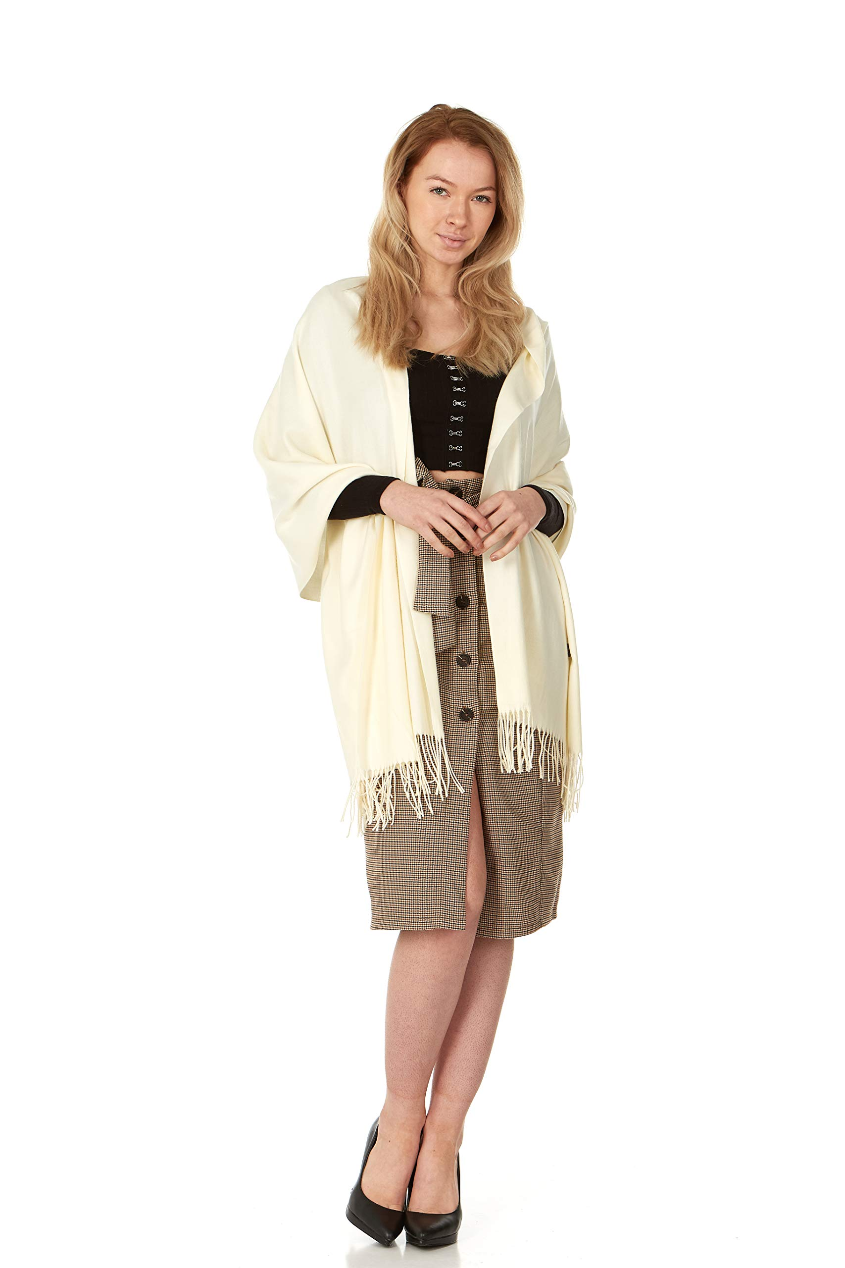 Cashmere & Class Large Soft Cashmere Woven Scarf Wrap – Womans Winter Shawl + Gift Box (White)