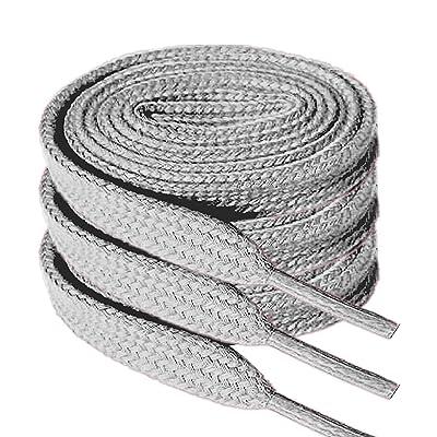 "Flat Shoelaces 5/16"" Wide Shoe Lace 3 Pair Pack- For Canvas Sneaker Athletic Tennis Shoe Laces-gray: Shoes"