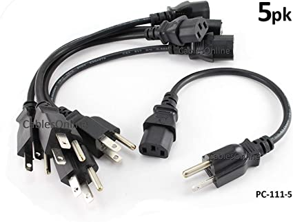 5x 6FT NEMA 5-15P To IEC320 C13 PC Power Cord Cable 3-Prong US AC 10A 125V 18AWG