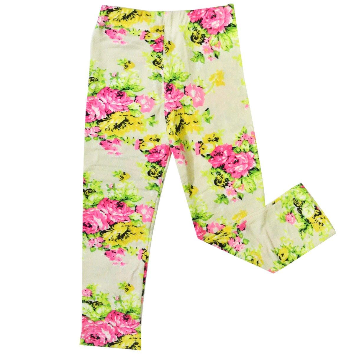 Bowbear Girls Blooming Floral Print Leggings Beige