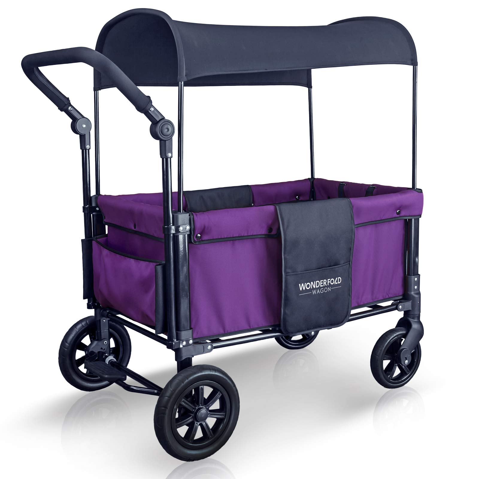 WonderFold Multi-Function 2 Passenger Push Folding Stroller Wagon, Adjustable & Removable Canopy, Double Seats with 5-Point Harness (Cobalt Violet) by WonderFold (Image #3)