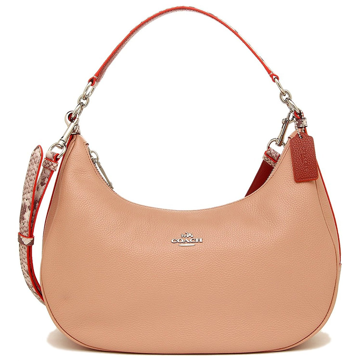 COACH EAST/WEST HARLEY HOBO IN POLISHED PEBBLE LEATHER WITH PYTHON EMBOSSED LEATHER TRIM SILVER/NUDE PINK MULTI F11752
