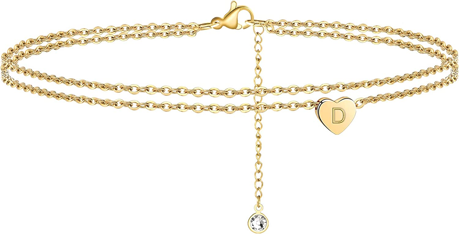 Turandoss Heart Initial Ankle Bracelets for Women, 14K Gold Filled Handmade Dainty Layered Anklet Letter Initial Heart Ankle Bracelets for Women Beach Jewelry Gifts