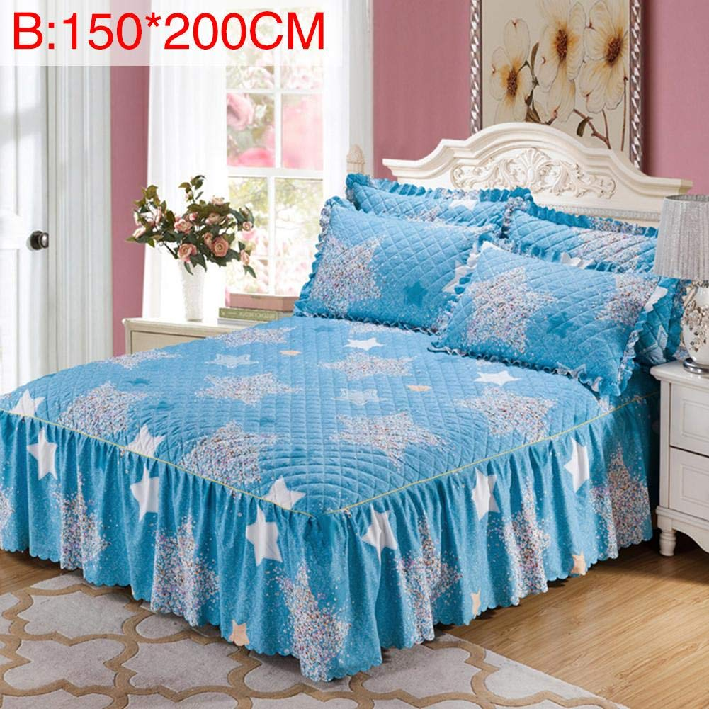 Queen Size Bed Skirt Winter Floral Print Quilted Thickened Bedspread Bed Skirt Fitted Sheet with 2 Pillow Shames Roche.Z