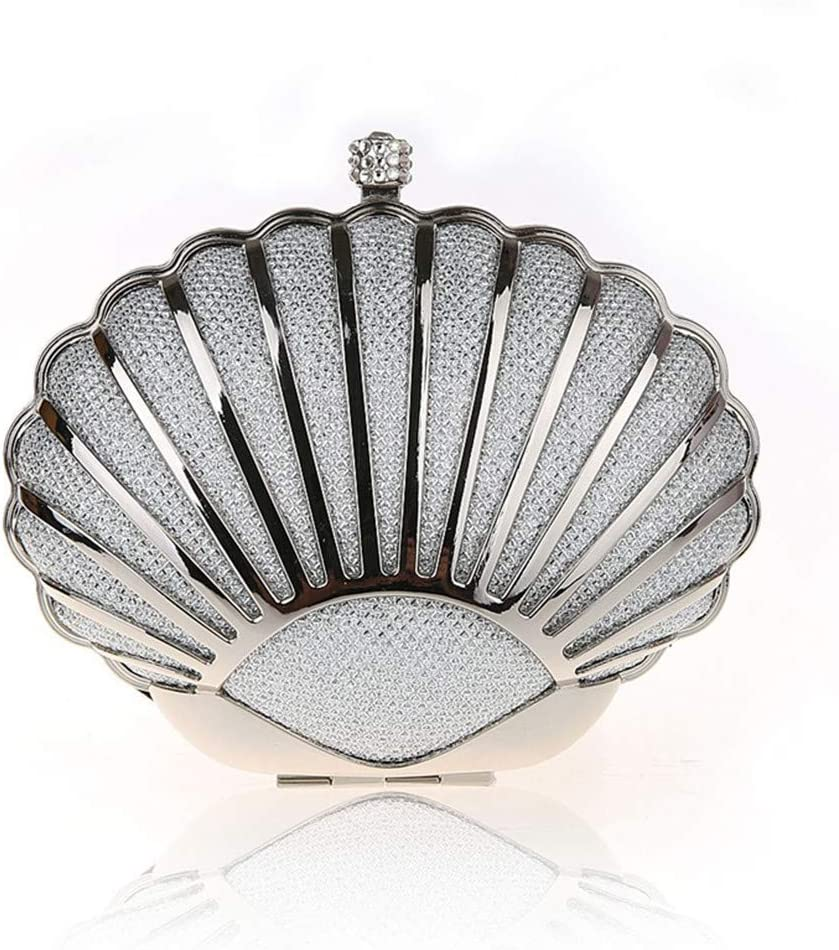 Bolso del Banquete de Boda Mujeres Shell Forma Mini Bolso de Embrague de la Tarde Bolso de Hombro Ocasional Bolso de Crossbody (Color : Silver) Silver
