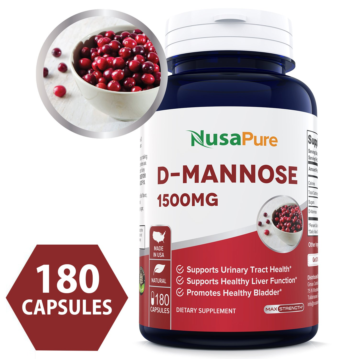 D-Mannose 1500mg 180 Capsules (Non-GMO & Gluten Free) Supports Urinary Tract Health, Promotes The Body's Natural Cleansing Process by NusaPure