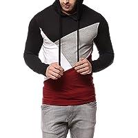 GRITSTONES Men Cotton Black/Maroon Hooded T-Shirt (GSHDTSHT1287BLKMRN)