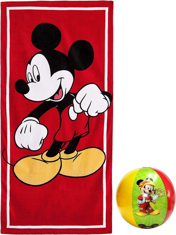 Disney Accessories Mickey Mouse - Juego de Toallas y Pelota de Playa (2 Unidades): Amazon.es: Hogar