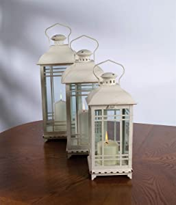 Melrose International Metal and Glass Lantern, Cream, Set of 3