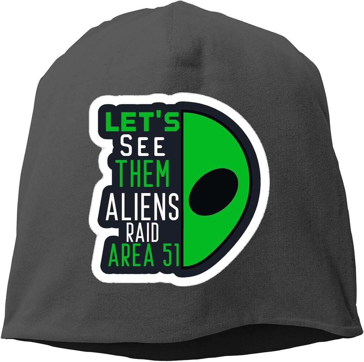 Lets See Them Aliens Raid Area 51 Skull Cap Helmet Liner Beanie Cap for Men Hip Hop Hedging Head Hat