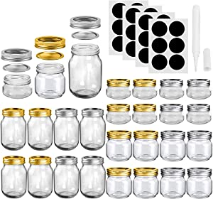 Mason Jars, SKOCHE 24 Pack Canning Jars Glass Jars Jelly Jars, Ideal for Wedding Favors, Shower Favors, Baby Foods, DIY Magnetic Spice Jars - 4OZ x 8, 8OZ x 8, 16OZ x 8 (4-8-16 24pack)