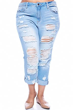 CELLO WOMENS PLUS SIZE BLUE Boyfriend Denim Jeans Ripped ...