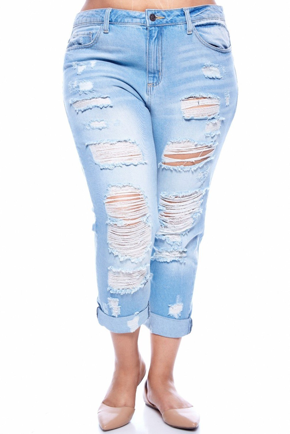 CELLO WOMENS PLUS SIZE BLUE Boyfriend Denim Jeans Ripped Distressed pants 1826 (16)