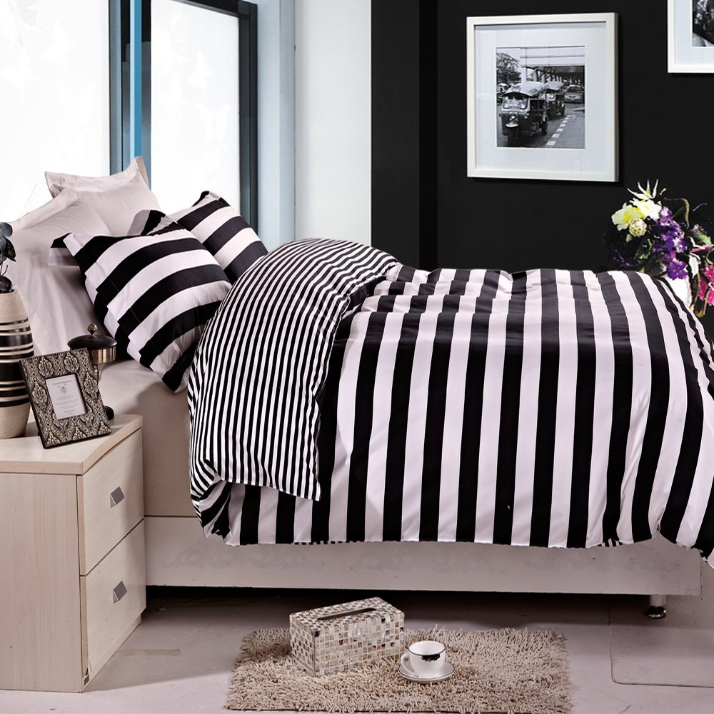NTBAY 3 Pieces Duvet Cover Set Black and White Stripe Printed Microfiber Reversible Design