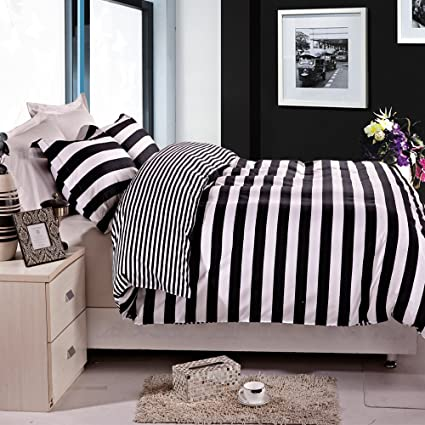 NTBAY 3 Pieces Duvet Cover Set Black And White Stripe Printed Microfiber  Reversible Design(Full