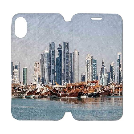 Amazon Com Modern Leather Phone Case Qatar City Skyline At