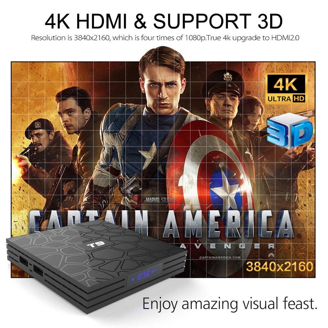 Android TV Box, HAOSIHD T9 Android 8 1 TV Box with Remote Control & Mini  Keyboard, 4GB RAM 32GB ROM RK3328 Quad-core, Support 4K Full HD 2 4Ghz WiFi