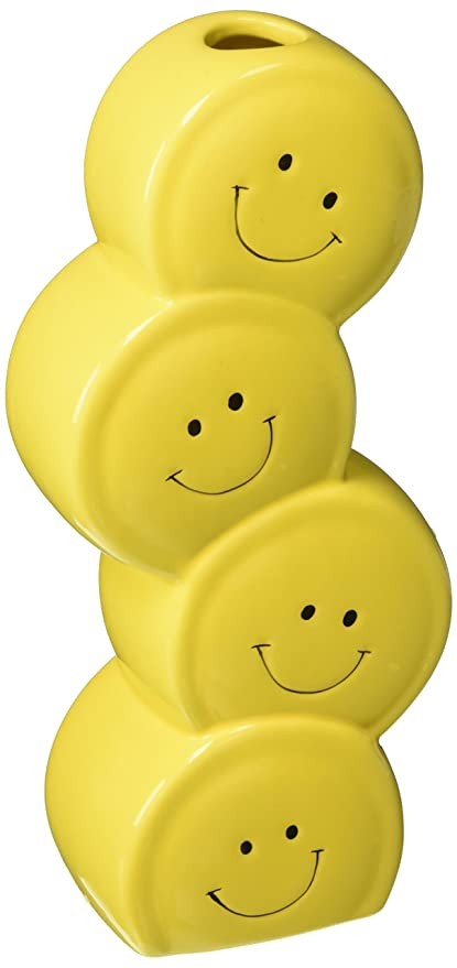 Smiley Happy Face Stacked Vase With Lots Of Happy Faces For Home Or