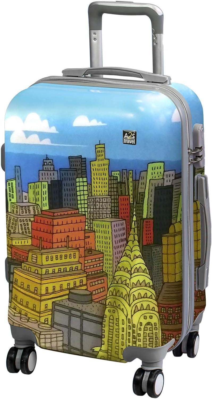 A2s Equipaje cabina maleta ligera y duradera maleta de cáscara dura con 8 ruedas giratorias llevar bolso (aviones) Nueva York 55x35x20cm