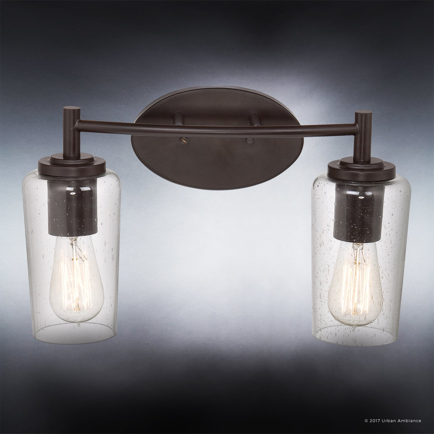 Luxury Vintage Bathroom Vanity Light, Medium Size: 10''H x 16''W, with Antique Style Elements, Elegant Estate Bronze Finish and Seeded Glass, Includes Edison Bulbs, UQL2271 by Urban Ambiance by Urban Ambiance (Image #4)