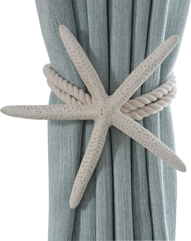 HozYi 2Pcs Natural Starfish Curtain Tiebacks