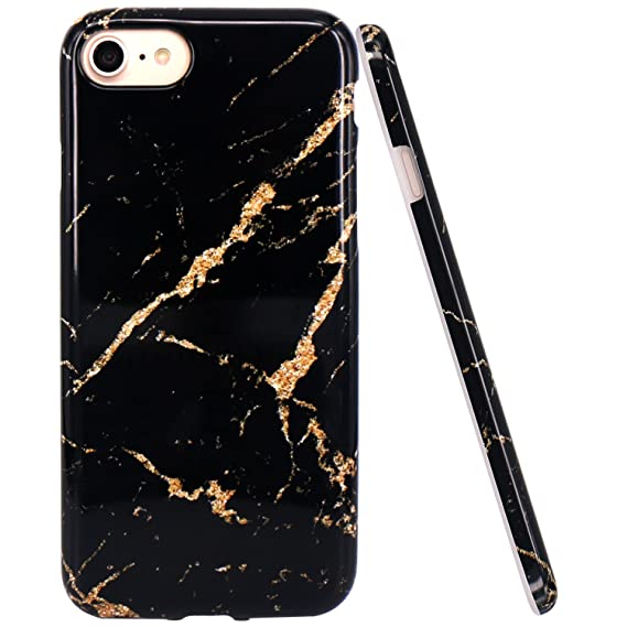 new products c1c20 22210 JAHOLAN Black Gold Marble Design Clear Bumper Glossy TPU Soft Rubber  Silicone Cover Phone Case Compatible with iPhone 7 iPhone 8
